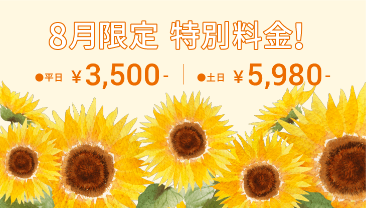 8月限定特別料金